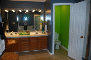 green and gray bathroom designs
