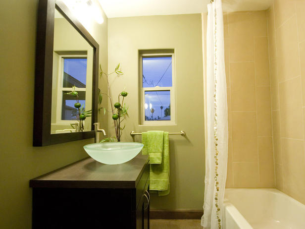 green bathroom vanity