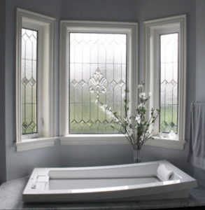 bathroom with window stained
