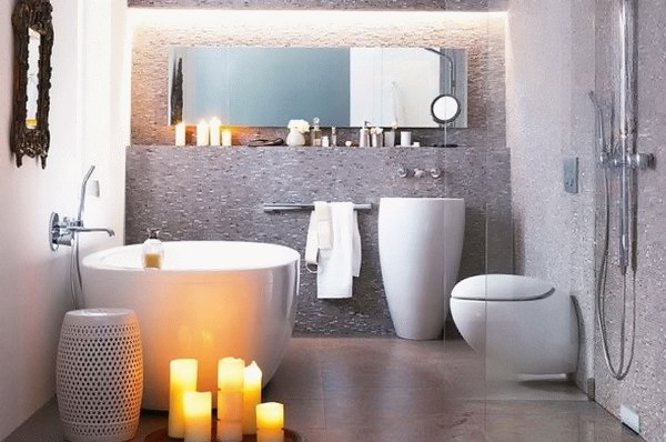 cozy bathroom with candles