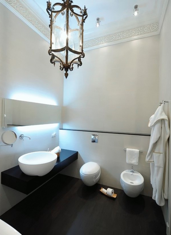 stylish bathroom in white color