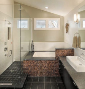 stylish bathroom with black tile