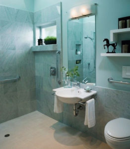 stylish bathroom with turquoise lighting