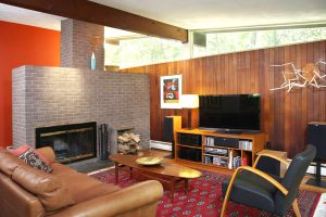 brick fireplace in the living room